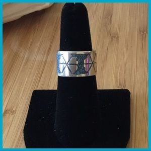 Vintage Mexico Taxco Sterling Turquoise Wide Band